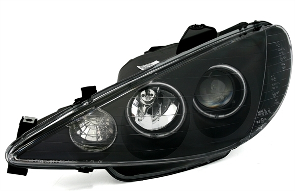 2 feux phare avant angel eyes ccfl blanc fond noir peugeot 206 ebay. Black Bedroom Furniture Sets. Home Design Ideas