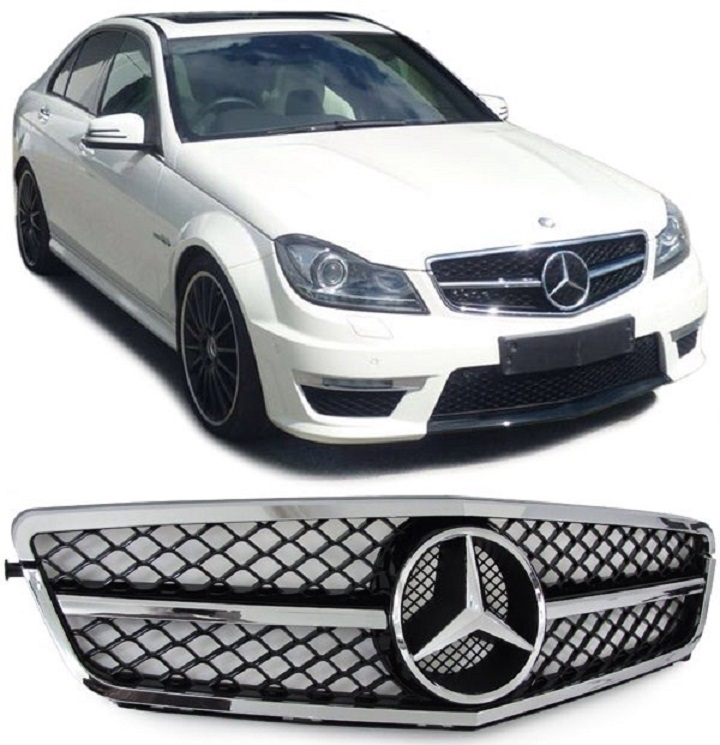calandre mercedes classe c w204 noir brillant chrome look c63 amg sl design vendue avec logo. Black Bedroom Furniture Sets. Home Design Ideas