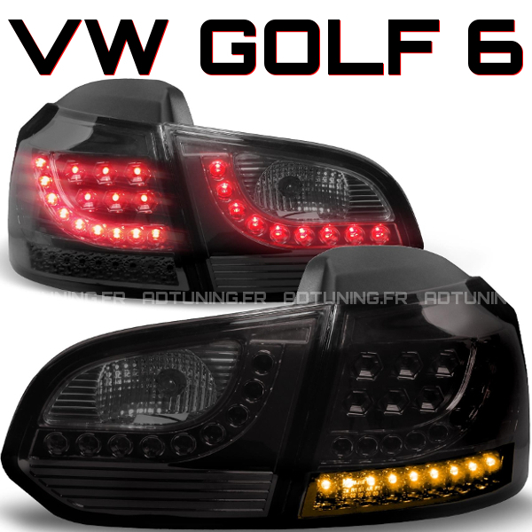 2 feux phare arriere a led vw golf 6 vi tdi tsi noir fume 2008 2012. Black Bedroom Furniture Sets. Home Design Ideas