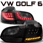 Volkswagen Golf 6 TDI TSI LED Tail Lights BLACK SMOKE VW Rear Lamps PAIR