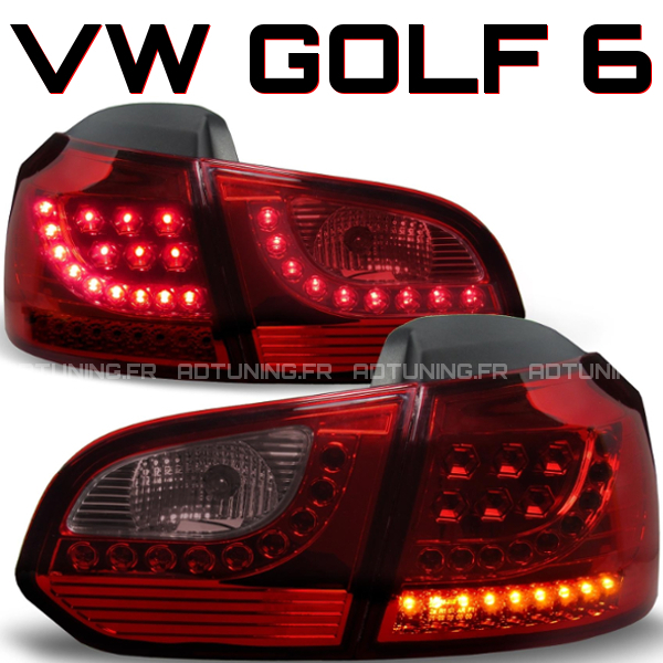 volkswagen golf 6 tdi tsi led tail lights red vw rear lamps pair. Black Bedroom Furniture Sets. Home Design Ideas