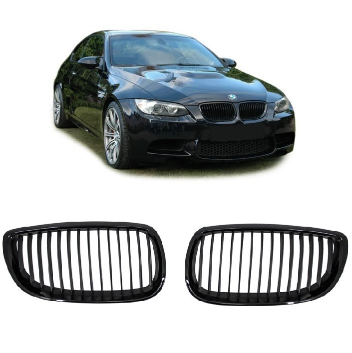 2 grille de calandre noir brillant glossy pour bmw serie 3 e92 coupe et e93 cabriolet phase 1. Black Bedroom Furniture Sets. Home Design Ideas
