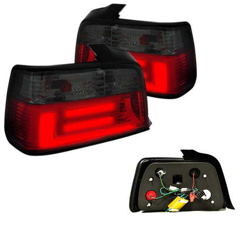 2 FEUX ARRIERE ROUGE ET NOIR LED TFL LIGHTBAR BMW SERIE 3 E36 BERLINE 1991 - 1998