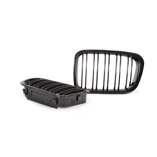 2 GRILLE DE CALANDRE NOIR BRILLANT DOUBLE LAME BMW SERIE 3 E46 BERLINE PHASE 1 DE 5/98 A 08/01