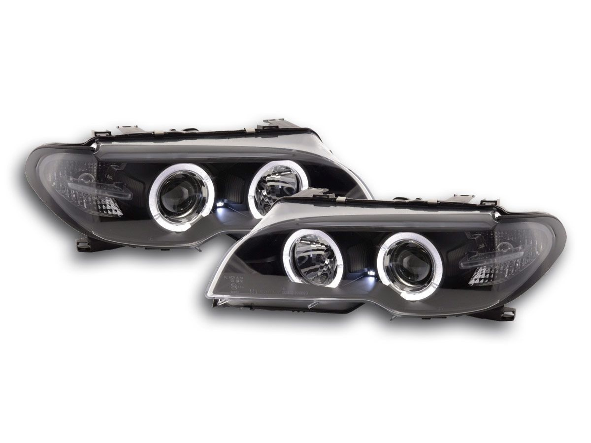 2 feux phare avant xenon d2s angel eyes led bmw serie 3 e46 coupe phase 2 de 04 2003 a 2006. Black Bedroom Furniture Sets. Home Design Ideas