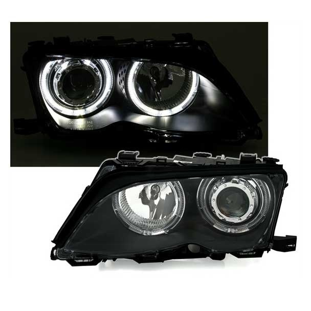 2 feux phare avant xenon angel eyes led blanc bmw serie 3. Black Bedroom Furniture Sets. Home Design Ideas